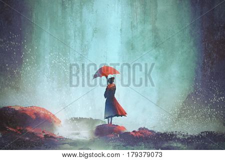 woman with an umbrella standing against waterfall, illustration painting