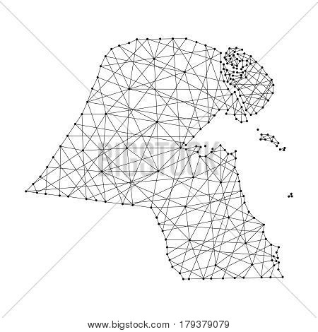 Map of Kuwait from polygonal black lines and dots of vector illustration