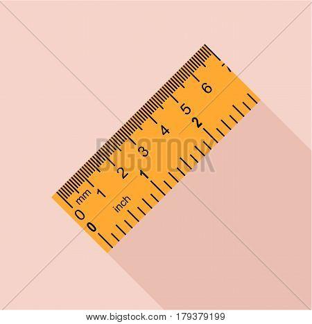Yellow ruler, rectangular shape icon. Flat illustration of yellow ruler, rectangular shape vector icon for web