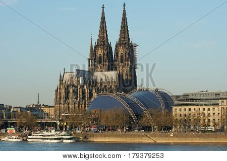 COLOGNE, GERMANY - MARCH 28, 2017: Cologne Dome during sunrise on March 28, 2017 in Germany, Europe