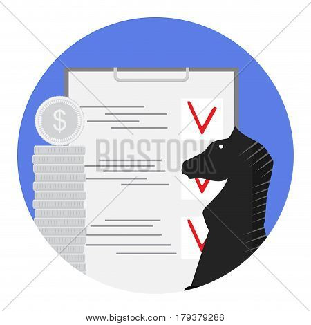 Finance strategy and plan. Solution and marketing vector illustration