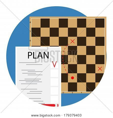 Plan and tactic. Checklist and project chessboard vector illustration