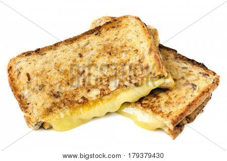 Grilled cheese sandwich, isolated on white.