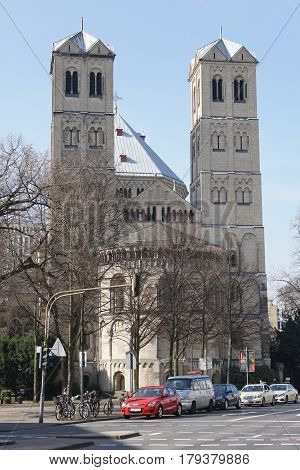 COLOGNE, GERMANY - MARCH 16, 2017: Church St. Gereon, one of the big Romanesque churches of Cologne on March 16, 2017 in Germany, Europe