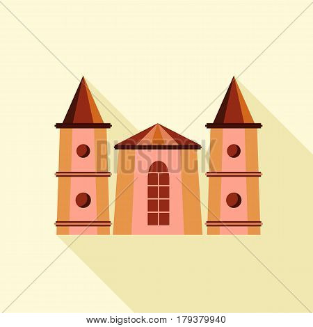Medieval towers icon. Flat illustration of medieval towers vector icon for web