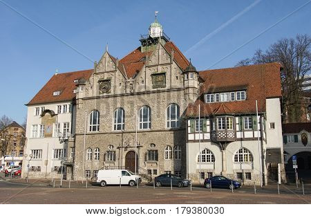 BERGISCH GLADBACH, GERMANY - MARCH 16, 2017: Townhall of Bergisch Gladbach during morning hours on March 16, 2017 in Germany, Europe