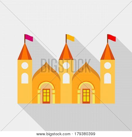 Residential mansion with towers and flags icon. Flat illustration of residential mansion with towers and flags vector icon for web