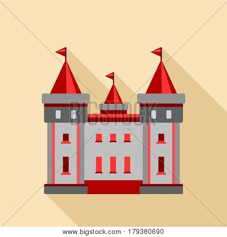 Medieval castle icon. Flat illustration of medieval castle vector icon for web