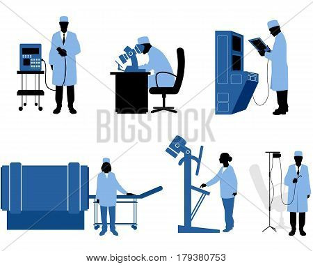 Vector illustration of a six medics with equipment