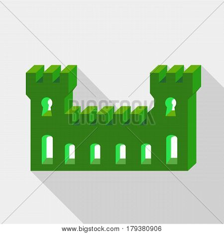 Green ancient fortress icon. Flat illustration of green ancient fortress vector icon for web