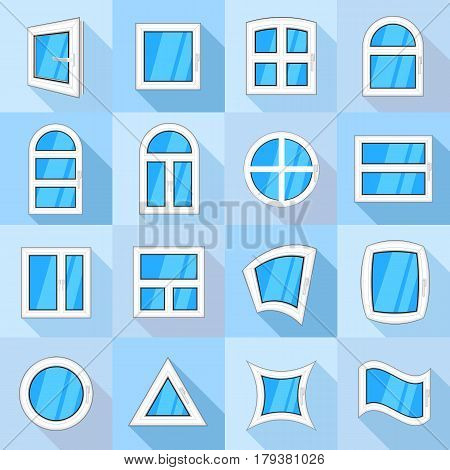 Window forms icons set. Flat illustration of 16 window forms icons set vector icons for web