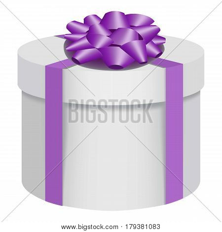 White gift box with a purple bow icon. Flat illustration of white gift box with a purple bow vector icon for web
