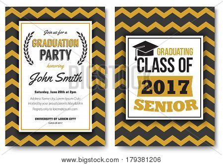 Graduation party vector template invitation to the traditional ceremony, college, university or high school student party, welcoming poster with elegant striped design