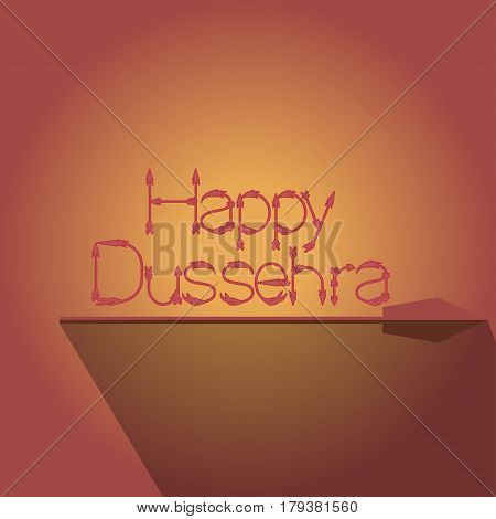 Happy dussehra with arrow isolated on background