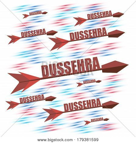 Happy dussehra with arrow isolated on white