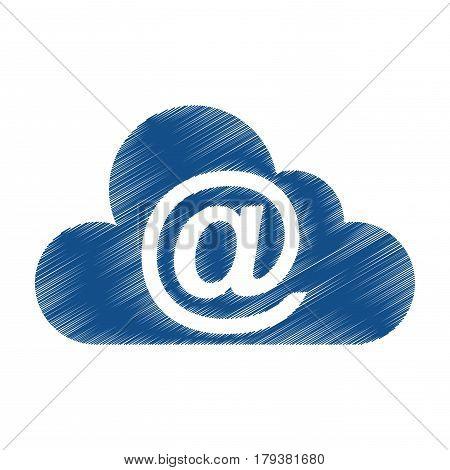 cloud computing with arroba symbol vector illustration design