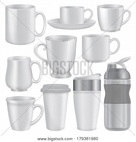 Mug cup mockup set. Realistic illustration of 10 mug cup mockups for web