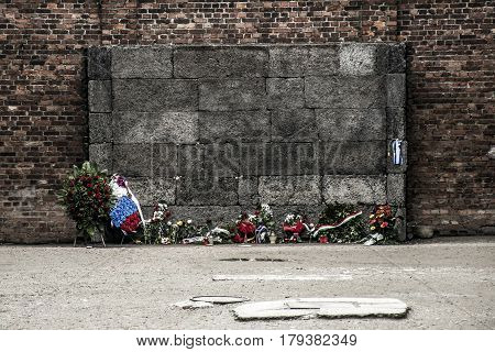 Block 10 execution wall at concentration camp Auschwitz Birkenau KZ Poland