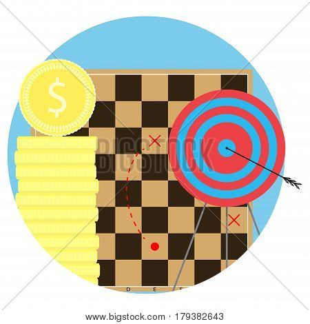 Strategy to achieve objectives. Aim and arrow business bullseye vector illustration