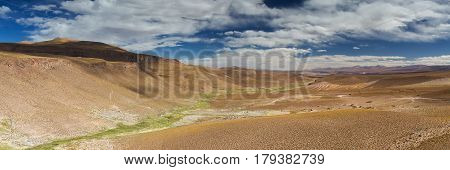 Panorama of the San Agustin valley Altiplano Bolivia
