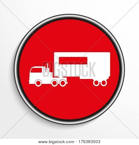 Truck with trailer. White vector icon on a red background.