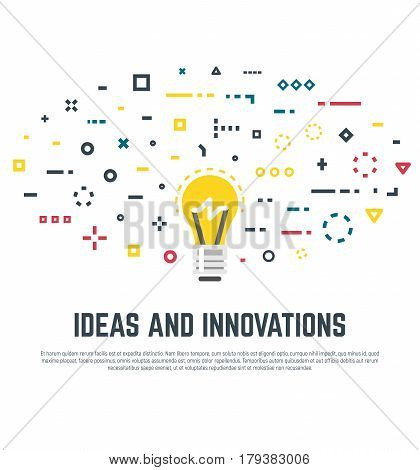 Imagination and innovation creativity and thinking. Big idea concept. Lightbulb and abstract thoughts in geometric colored shapes. Light bulb. Line style vector. Dots squares lines and circles.