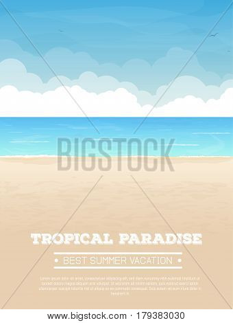 Summer vacation vertical banner with text. Tropical sand beach sea or ocean with waves and big clouds on horizon sea birds flying in the sky. Seaside view. Vector realistic illustration.