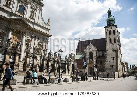 Poland krakow - 08.05.2015 Local People during daily life of famous buildings and monuments