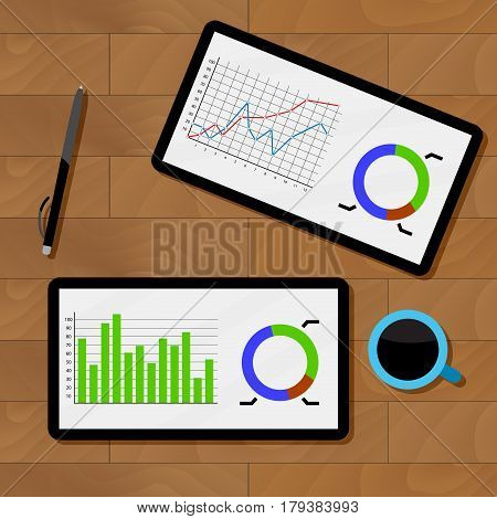 Statistics analysis chart. Analyzing data and review chart on tablet vector illustration