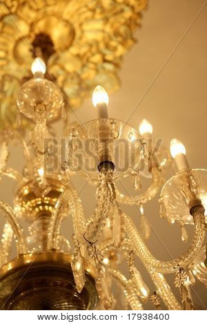 Old electric chandelier lamp, luxury decoration and lighting