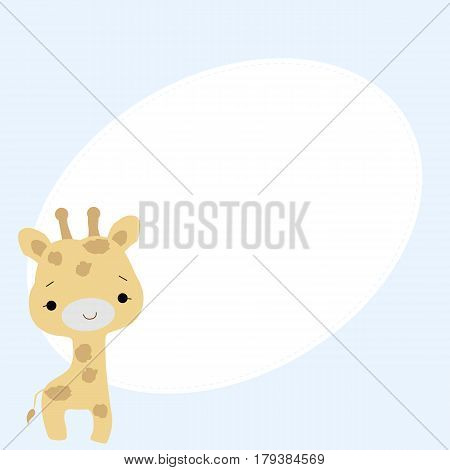 cute baby oval frame with a little giraffe on a blue background. baby shower or arrival. vector illustration. template for greetings or photo frame