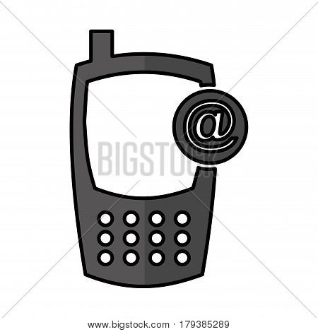 cellphone with arroba device isolated icon vector illustration design
