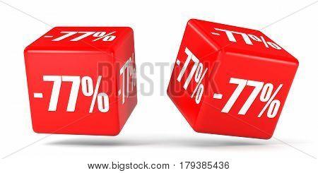 Seventy Seven Percent Off. Discount 77 %. Red Cubes.
