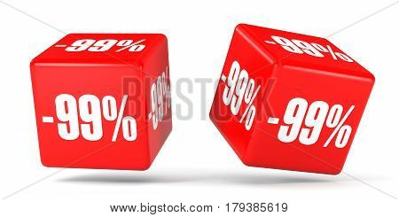 Ninety Nine Percent Off. Discount 99 %. Red Cubes.