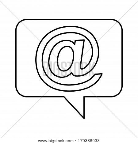 speech bubble with arroba symbol vector illustration design