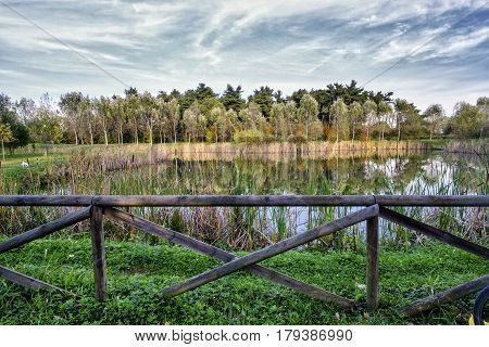 Grugnotorto park (Brianza Lombardy Italy): the little lake at fall