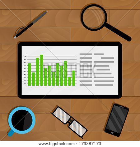 Statistics in electronic form on tablet. Economic statistic graph finance information forecast. Vector illustration