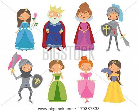 Fairy tale. King Queen Knights and Princesses. Cartoon vector illustration