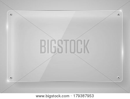 Realistic horizontal transparent glass frame with shadow. Modern background. Vector illustration