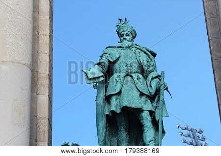 BUDAPEST, HUNGARY - AUGUST 08, 2012: Sculpture of Gabriel Bethlen (Vastagh Gyorgy 1902). Millennium Monument on the Heroes' Square. G. Bethlen was Prince of Transylvania and king of Hungary (XVII c.)