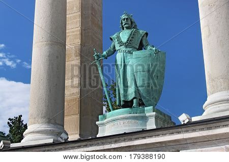 BUDAPEST, HUNGARY - AUGUST 08, 2012: Sculpture of king Charles Robert (Kiss Gyorgy 1905). As part of Millennium Monument on the Heroes Square. Charles I was King of Hungary from 1308 to his death.