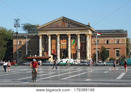 BUDAPEST, HUNGARY - AUGUST 08, 2012: The Budapest Hall of Art or Palace of Art (Mucsarnok Kunsthalle). Is a contemporary art museum and a historic building. Was completed in 1896 renovated in 1995.