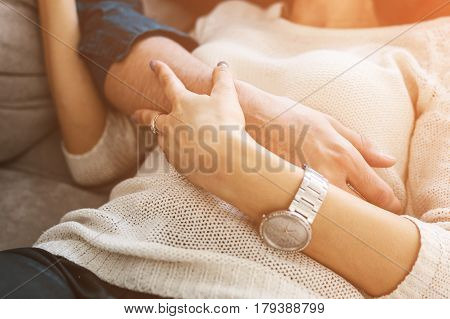 A loving couple man and woman embraces. The concept of a close relationship, tenderness, love, emotion.
