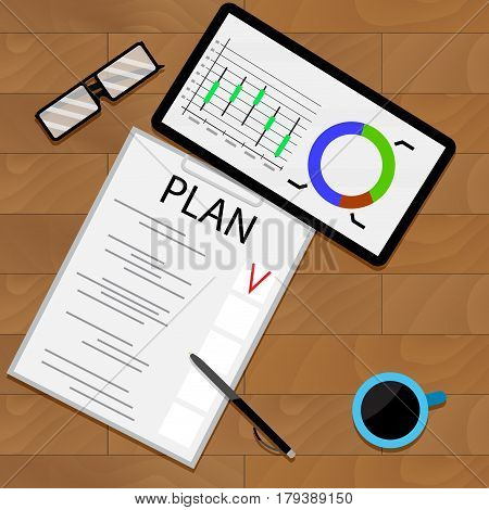 Planning statistical forecast. Organization and management graphic analyzing vector illustration