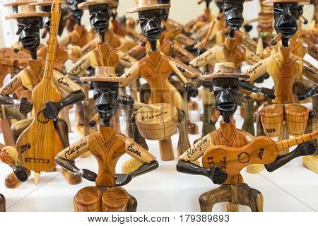 LAS TUNAS, CUBA-MARCH 7, 2017: Cuban handcrafted tourism souvenirs for sale at the Las Tunas market. After economic changes selling souvenirs is one of the most profitable business in the Caribbean Island.