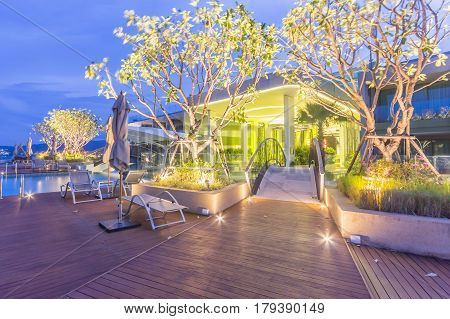 PHUKET, THAILAND - JANUARY 22, 2017: Oriental Architecture of Crest Resort and Pool Villas and Resorts is the latest luxury intimate gems an eco friendly resort Phuket island in Thailand.