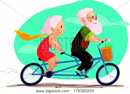 Vector flat portrait of old cute loving couple riding double bicycle. Cartoon style. Love forever. Grandparent character illustration. Happy people on bike. Healthy lifestyle. Good for postcard design