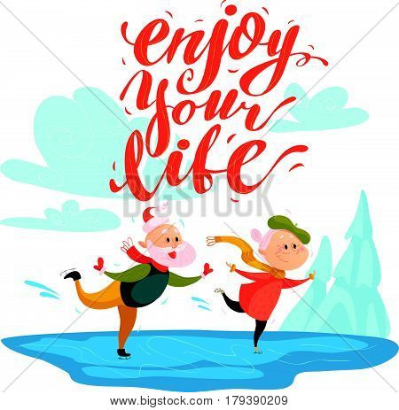 Vector flat portrait of old cute loving couple doing figure skating on white background. Cartoon style. Lettering. Grandparents characters illustration. Happy people. Good for lovely postcard design.