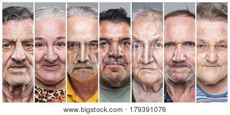 Portrait collage of elderly men and women with various facial expressions