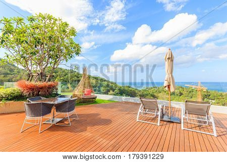 PHUKET THAILAND - JANUARY 22 2017: Beautiful Luxury deck with pillow on the wooden balcony